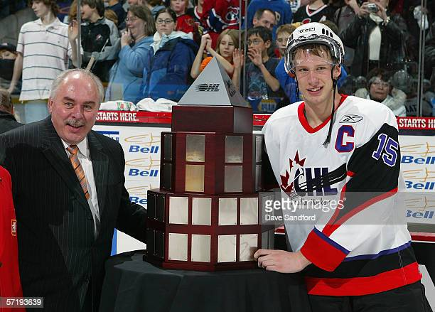 Jordan Staal of Team Orr poses with the trophy after Team Orr defeated Team Cherry in the CHL Top Prospects game at Scotia Bank Place on January 18...