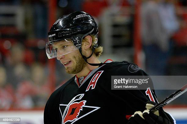 Jordan Staal of the Carolina Hurricanes against the Washington Capitals during their game at PNC Arena on December 20 2013 in Raleigh North Carolina...
