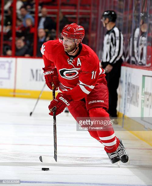 Jordan Staal of the Carolina Hurricanes carries the puck during an NHL game against the San Jose Sharks on November 15 2016 at PNC Arena in Raleigh...