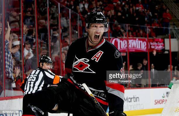 Jordan Staal of the Carolina Hurricanes celebrates after scoring during an NHL game against the Vancouver Canucks on December 13 2016 at PNC Arena in...