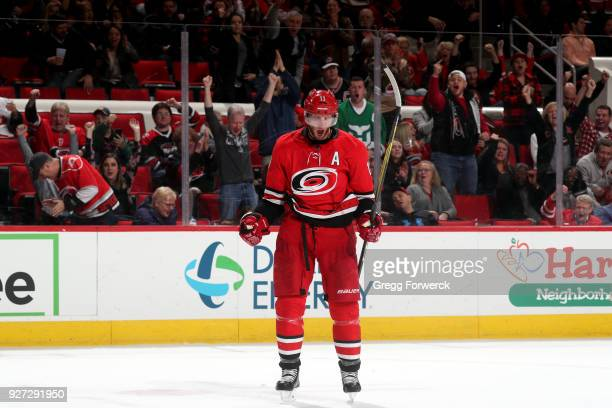 Jordan Staal of the Carolina Hurricanes celebrates his third period goal against the Winnipeg Jets during an NHL game on March 4 2018 at PNC Arena in...