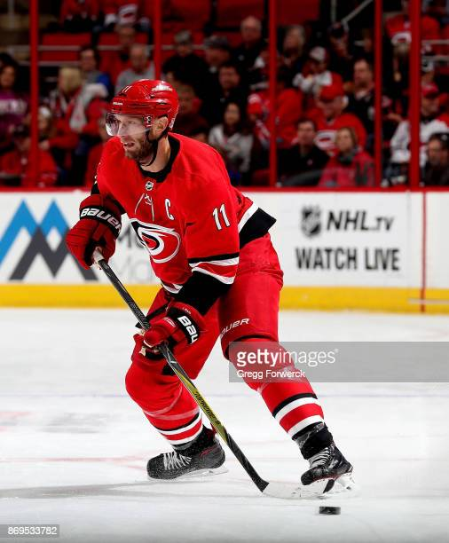 Jordan Staal of the Carolina Hurricanes controls a puck on the ice against the Anaheim Ducks during an NHL game on October 29 2017 at PNC Arena in...