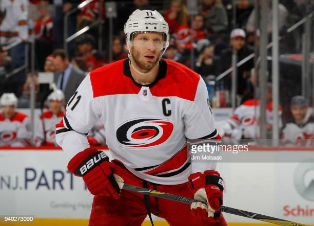 Jordan Staal of the Carolina Hurricanes in action against the New Jersey Devils on March 27 2018 at Prudential Center in Newark New Jersey The Devils...