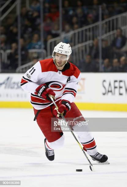 Jordan Staal of the Carolina Hurricanes in action against the San Jose Sharks at SAP Center on December 7 2017 in San Jose California