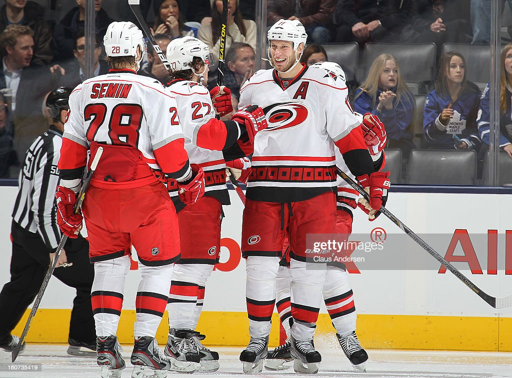 Jordan Staal #11 of the Carolina Hurricanes is all smiles after a goal in a game against the Toronto Maple Leafs on February 4, 2013 at the Air Canada Centre in Toronto, Canada. The Hurricanes defeated the Leafs 4-1.