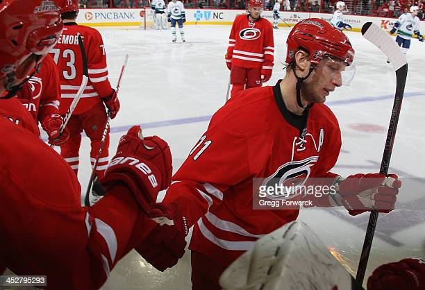 Jordan Staal of the Carolina Hurricanes is congratulated by teammates on his second period goal during an NHL game against the Vancouver Canucks at...