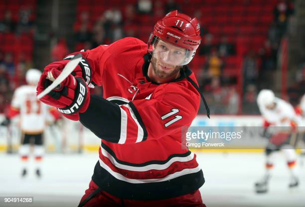 Jordan Staal of the Carolina Hurricanes participates in warmups prior to an NHL game on January 14 2018 at PNC Arena in Raleigh North Carolina Their...