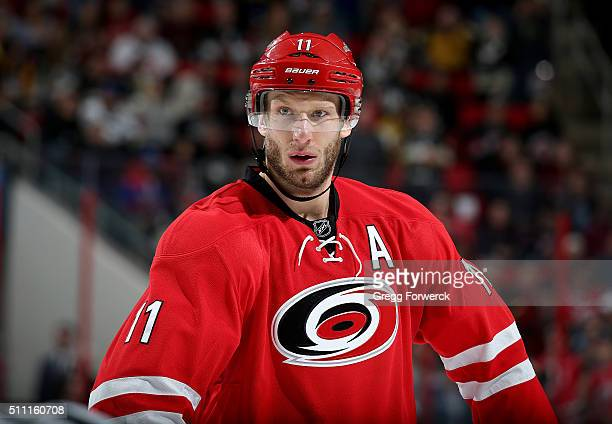 Jordan Staal of the Carolina Hurricanes prepares for a faceoff during an NHL game against the Pittsburgh Penguins at PNC Arena on February 12 2016 in...