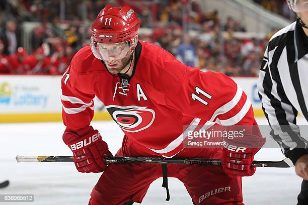 Jordan Staal of the Carolina Hurricanes prepares for a faceoff against the Boston Bruins during an NHL game on December 23 2016 at PNC Arena in...