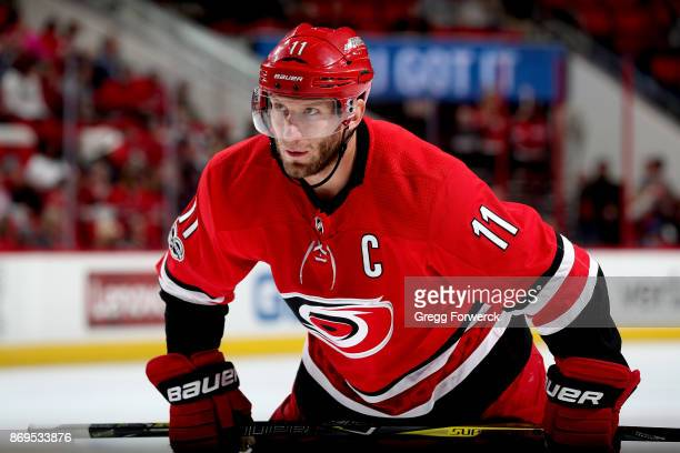 Jordan Staal of the Carolina Hurricanes prepares for a faceoff against the Anaheim Ducks during an NHL game on October 29 2017 at PNC Arena in...