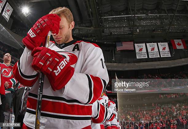 Jordan Staal of the Carolina Hurricanes prepares to play against the Prudential Center on March 1 2016 in Newark New Jersey The Hurricanes defeated...