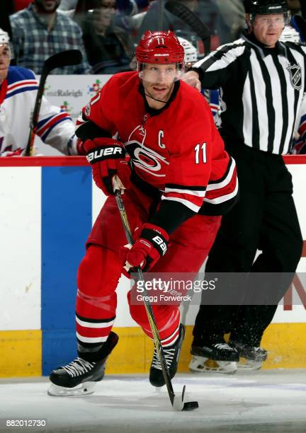 Jordan Staal of the Carolina Hurricanes settles the puck at the blue line during an NHL game against the New York Rangers on November 22 2017 at PNC...