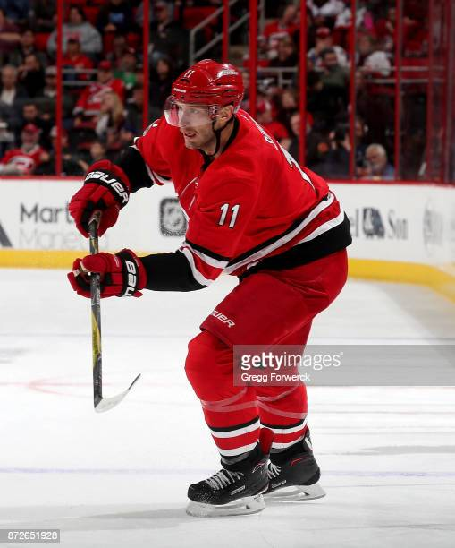 Jordan Staal of the Carolina Hurricanes shoots the puck during an NHL game against the Florida Panthers on November 7 2017 at PNC Arena in Raleigh...