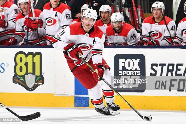 Jordan Staal of the Carolina Hurricanes skates against the Columbus Blue Jackets on November 28 2017 at Nationwide Arena in Columbus Ohio