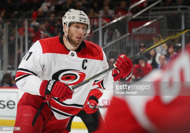 Jordan Staal of the Carolina Hurricanes skates against the New Jersey Devils at the Prudential Center on March 27 2018 in Newark New Jersey
