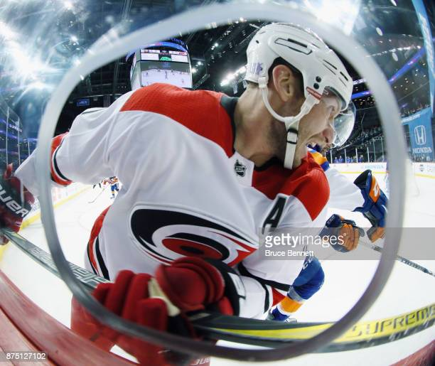 Jordan Staal of the Carolina Hurricanes skates against the New York Islanders at the Barclays Center on November 16 2017 in the Brooklyn borough of...
