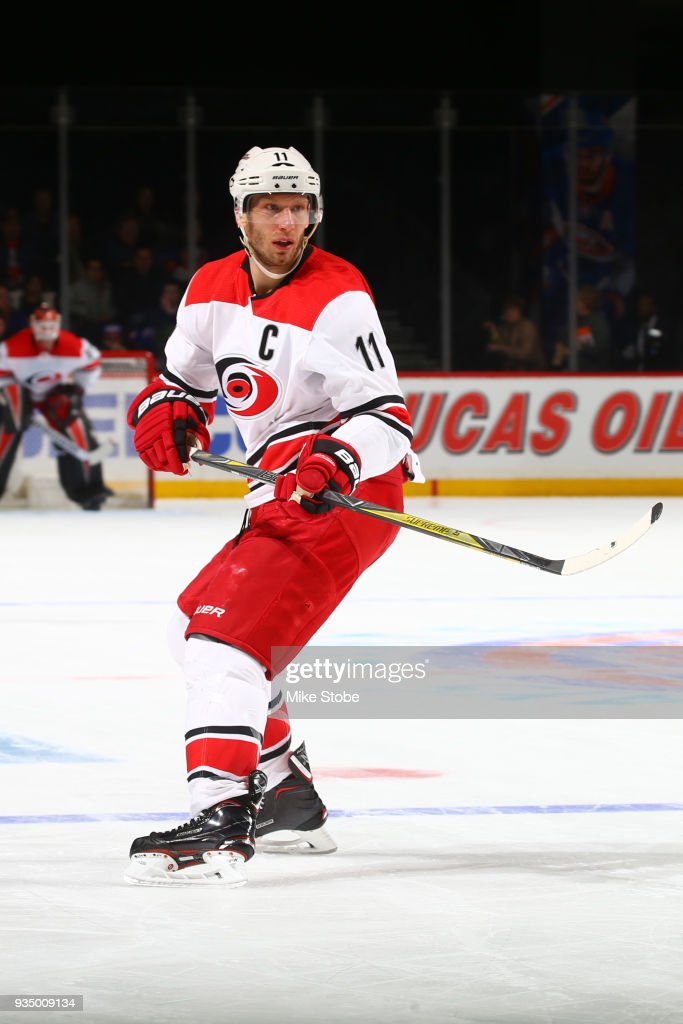 Jordan Staal #11 of the Carolina Hurricanes skates against the New York Islanders sat Barclays Center on March 18, 2018 in New York City. Carolina Hurricanes defeated the New York Islanders 4-3