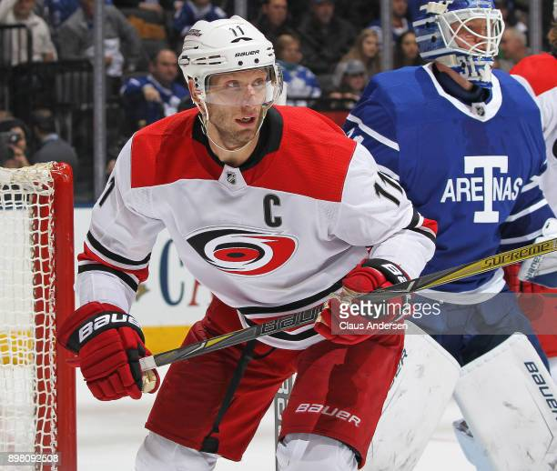 Jordan Staal of the Carolina Hurricanes skates against the Toronto Maple Leafs during an NHL game at the Air Canada Centre on December 19 2017 in...