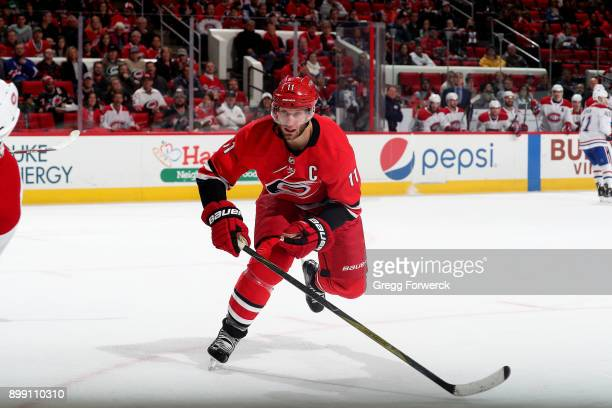 Jordan Staal of the Carolina Hurricanes skates during his 800th NHL game against the Montreal Canadiens on December 27 2017 at PNC Arena in Raleigh...