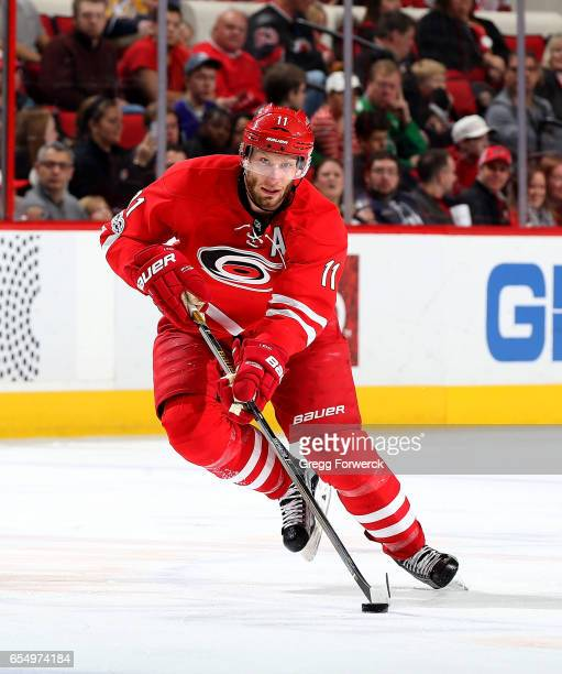 Jordan Staal of the Carolina Hurricanes skates for position during an NHL game against the Nashville Predators on March 18 2017 at PNC Arena in...