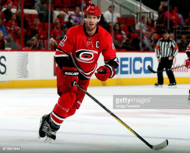 Jordan Staal of the Carolina Hurricanes skates for position on the ice during an NHL game against the Florida Panthers on November 7 2017 at PNC...