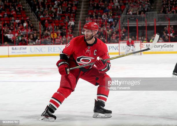 Jordan Staal of the Carolina Hurricanes skates for position on the ice during an NHL game against the on December 27 2017 at PNC Arena in Raleigh...