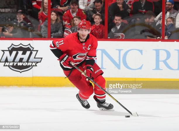 Jordan Staal of the Carolina Hurricanes skates with the puck during an NHL game against the Chicago Blackhawks on November 11 2017 at PNC Arena in...