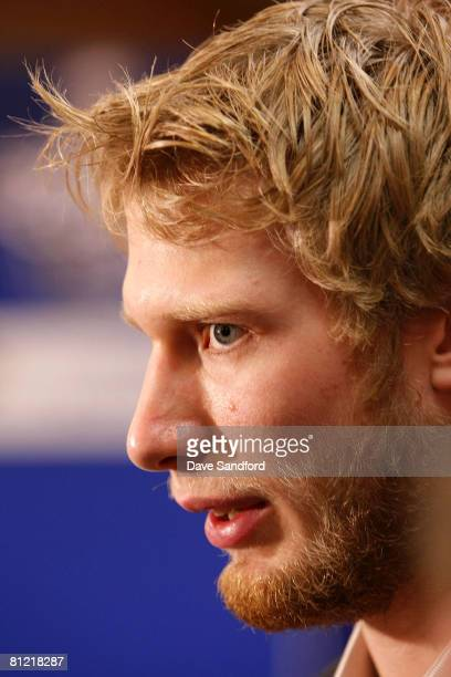 Jordan Staal of the Pittsburgh Penguins addresses the media during Live at the Stanley Cup Final from Cobo Hall on May 23, 2008 in Detroit, Michigan.