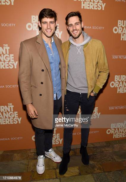 """Jordan Stenmark and Zac Stenmark attend Sony Pictures Classics and The Cinema Society Special Screening of """"The Burnt Orange Heresy"""" at The Roxy..."""