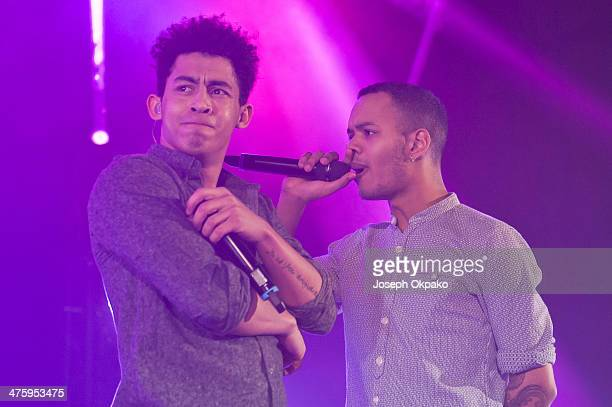 Jordan Stephens and Harley AlexanderSule of Rizzle Kicks performs on stage at Eventim Apollo Hammersmith on March 1 2014 in London England