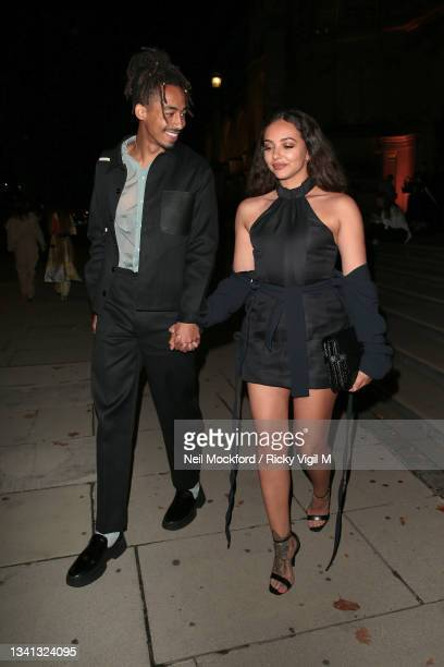 Jordan Stephens and Jade Thirlwall seen attending Richard Malone show at Victoria and Albert Museum during London Fashion Week September 2021 on...
