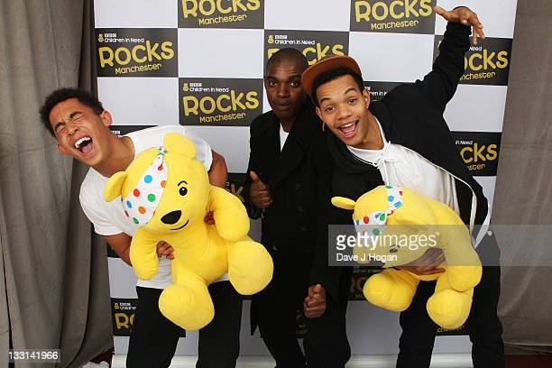 Jordan Stephens Dot Rotton and Harley AlexanderSule pose backstage at Children In Need Rocks Manchester 2011 at The Manchester Evening News Arena on...