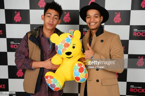 Jordan Stephens Harley AlexanderSule of Rizzle Kicks pose with Pudsey Bear backstage during the 'BBC Children In Need Rocks' at Hammersmith Eventim...