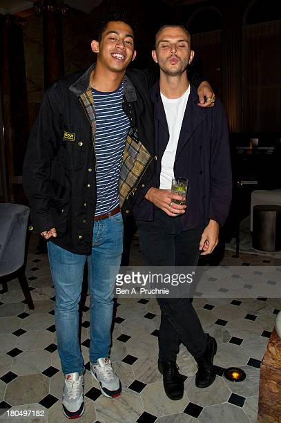 Jordan Stephens of Rizzle Kicks and Theo Hutchcraft of Hurts attend the Ian Schrager and Arne Sorensen hosted cocktails and canapes at The London...