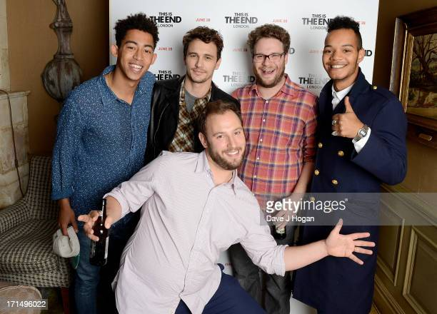 Jordan Stephens of the Rizzle Kicks actor James Franco Seth Rogen Harley AlexanderSule of the Rizzle Kicks and director Evan Goldberg attend the...