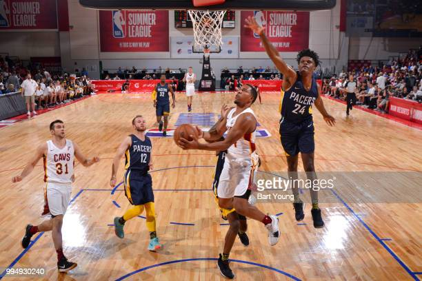 Jordan Stevens of the Cleveland Cavaliers goes to the basket against the Indiana Pacers during the 2018 Las Vegas Summer League on July 9 2018 at the...