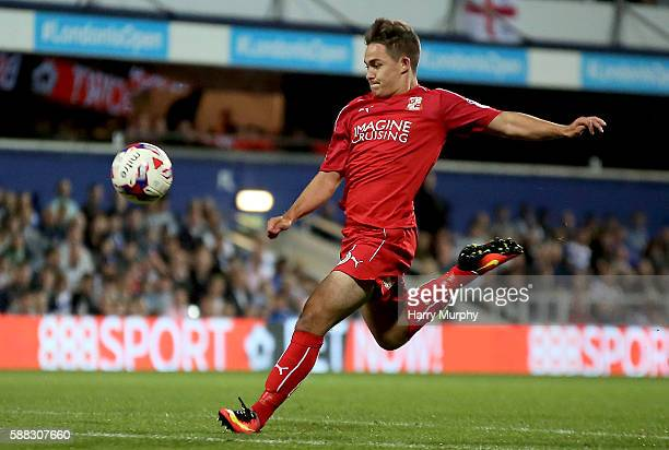 Jordan Stewart of Swindon volleys Swindons equaliser during the Football League Cup match between Queens Park Rangers and Swindon Town on August 10...