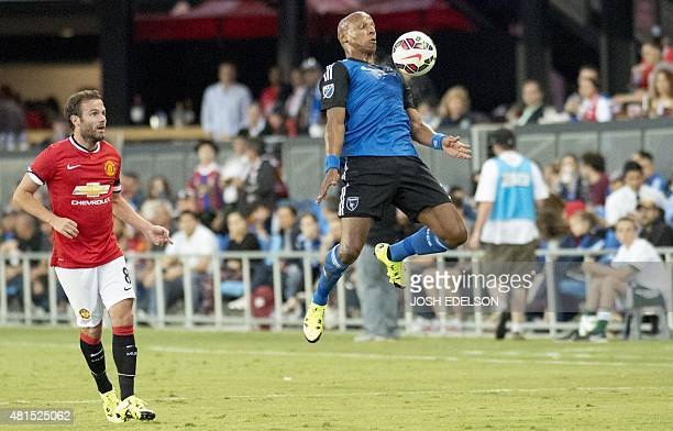 Jordan Stewart of the San Jose Earthquakes controls the ball during their International Champions Cup football match against Manchester United at...