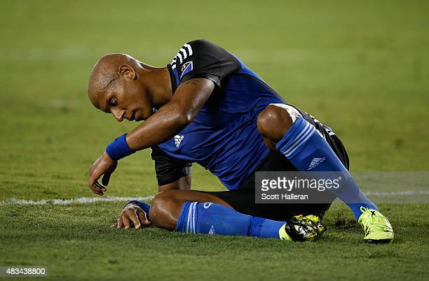 Jordan Stewart of the San Jose Earthquakes sits on the pitch after a second half goal by Alex of the Houston Dynamo during their game at BBVA Compass...