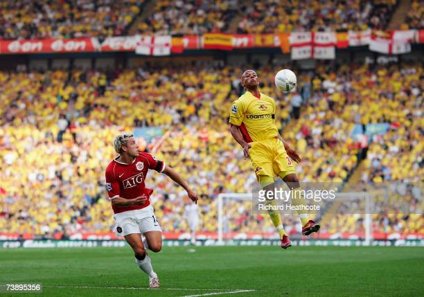 Jordan Stewart of Watford brings the ball down during the FA Cup Semi Final sponsored by EON between Watford and Manchester United at Villa Park on...