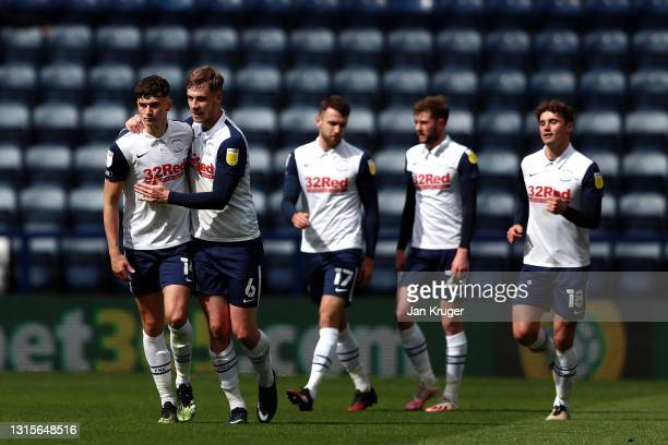Jordan Storey of Preston North End celebrates with Liam Lindsay after scoring their side's first goal during the Sky Bet Championship match between...