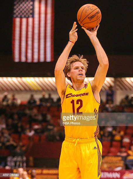 Jordan Swing of the Canton Charge shoots against the Delaware 87ers during the 201415 Canton Charge Home Opener on November 15 2014 at the Canton...
