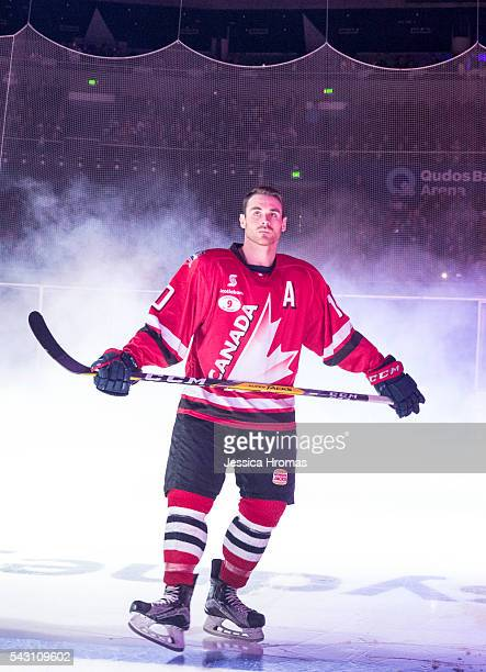 Jordan Szwarz from Team Canada just before the Wayne Gretzky Ice Hockey Classic between Team USA and Team Canada at Qudos Bank Arena on June 25 2016...