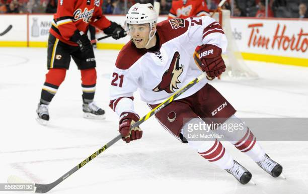 Jordan Szwarz of the Arizona Coyotes plays in the game against the Calgary Flames at Scotiabank Saddledome on April 7 2015 in Calgary Alberta Canada