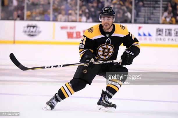 Jordan Szwarz of the Boston Bruins skates against the Minnesota Wild at the TD Garden on November 6 2017 in Boston Massachusetts