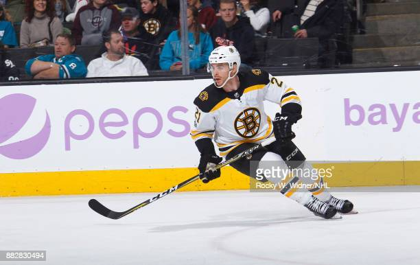 Jordan Szwarz of the Boston Bruins skates against the San Jose Sharks at SAP Center on November 18 2017 in San Jose California