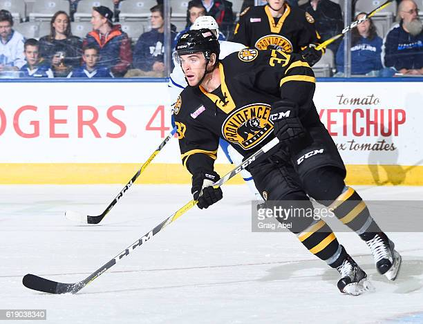 Jordan Szwarz of the Providence Bruins turns up ice against the Toronto Marlies during game action on October 26 2016 at Ricoh Coliseum in Toronto...