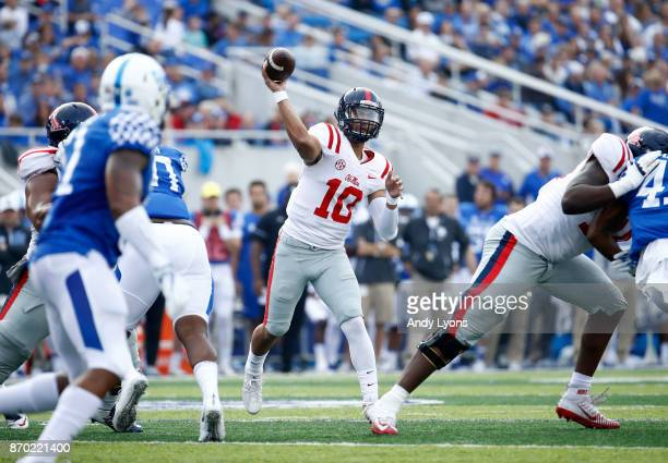 Jordan Ta'amu of the Mississippi Rebels throws a passl against the Kentucky Wildcats at Commonwealth Stadium on November 4 2017 in Lexington Kentucky