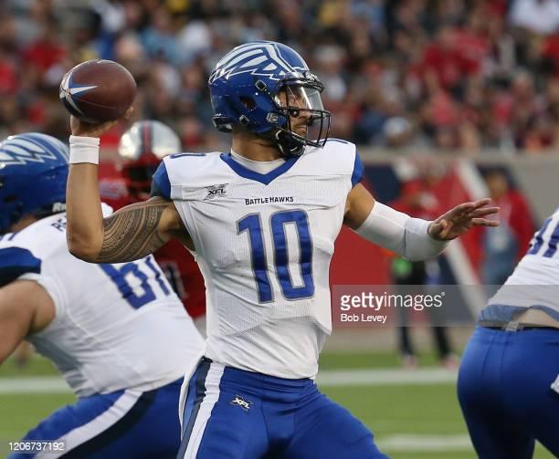 Jordan Ta'amu of the St Louis Battlehawks looks for a receiver against the Houston Roughnecks at TDECU Stadium on February 16 2020 in Houston Texas