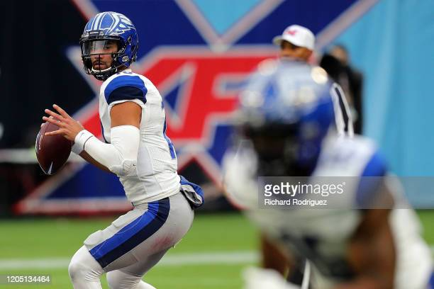 Jordan Ta'amu of the St. Louis Battlehawks looks for an open receiver in the second quarter against the Dallas Renegades in an XFL Football game on...